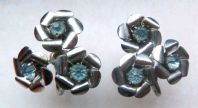 Vintage 40's Coro Blue Flower Screw Back Earrings.